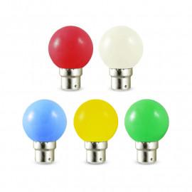 Ampoule LED B22 Bulb G45 1W Blister x 5 couleurs