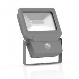 Projecteur Exterieur LED + Détecteur Plat Gris 10W 6000°K