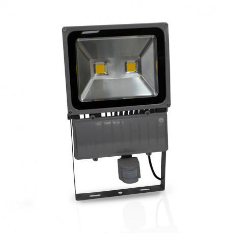 projecteur exterieur led gris avec d tecteur 100w 3000 k. Black Bedroom Furniture Sets. Home Design Ideas