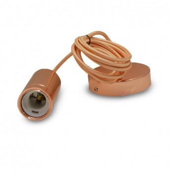 Suspension Douille E27 Metal Cylindre Rose or + Câble 2 M