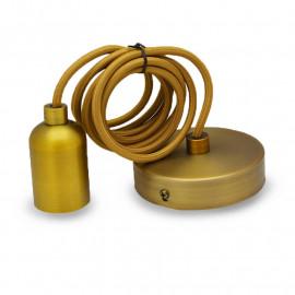 DOUILLE E27 METAL CYLINDRE ROND MAT MARRON BRONZE + CABLE  2 M