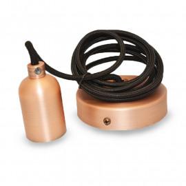 Suspension Douille E27 Metal Cylindre Rond Mat Cuivre + Câble 2 M