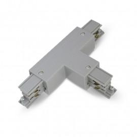 Connecteur Triphase Forme T Circuit Extérieur Droit Gris