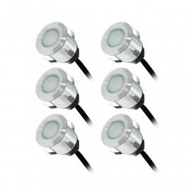KIT SPOT LED TERRASSE 6x0,6W 12V Bleu Rond IP67
