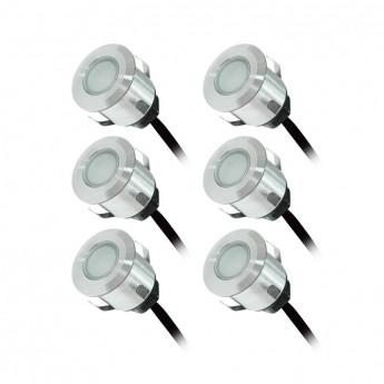 KIT SPOT LED TERRASSE 6x0,6W 12V Rouge Rond IP67