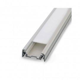 Profile Plat Aluminium Brut 1m pour bandeaux LED 14,4mm