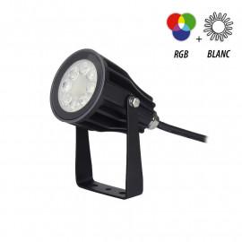 Projecteur Exterieur LED Noir 230V 6W RGB+Blanc IP65