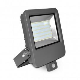 Projecteur Exterieur LED Plat Gris avec Détecteur 80W 6000°K