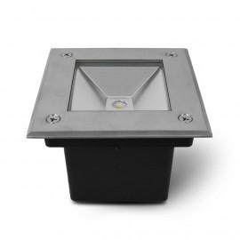Spot LED Encastre Sol Carré 3W 4000°K Inox 316 L