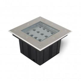 Spot LED Encastre Sol Carré 12W 3000°K Inox 304