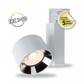 Spot LED sur Rail avec Adaptateur 3 allumages Blanc 20W 3000°K GARANTIE 5 ANS