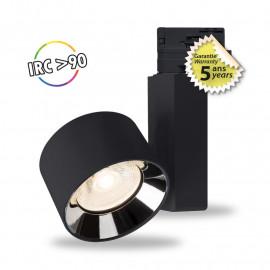 Spot LED sur Rail avec Adaptateur 3 allumages Noir 20W 3000°K GARANTIE 5 ANS