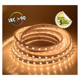 Bandeau LED 3000°K 5 m 60 LED/m 62W IP67  - 24V - GARANTIE 5 ANS