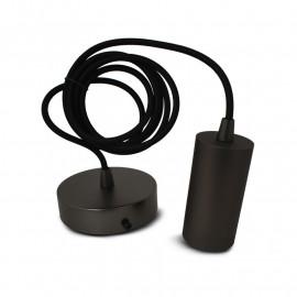 Suspension Douille E27 Metal Cylindre Mat perle noir + Câble 2 M