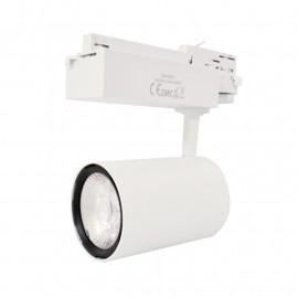 Spot LED sur Rail Blanc 35W 3000°K 3025 LM + adaptateur rail 3 allumages