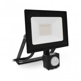 Projecteur LED Plat Noir 20W 4000K + Détecteur