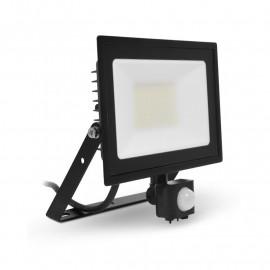 Projecteur LED Plat Noir 50W 3000K + Détecteur