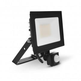 Projecteur LED Plat Noir 30W 6000K + Détecteur