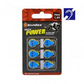 Piles Sundex PR44 1.4V x6 Super Alcaline Appareil auditif